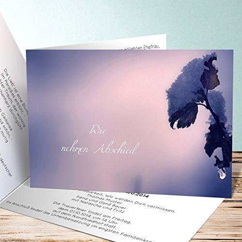 Einladungskarten Beerdigung, Lebensabend 750 Karten, Horizontale Klappkarte 148x105 inkl. weiße Umschläge, Blau