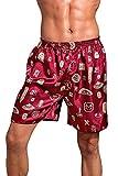 Dolamen Men's Pyjamas Bottoms Shorts Satin, 2 Pack Nightwear Underwear Boxer Trunks (Large, Red II)