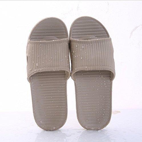 sandali Pantofole interni uomini Pantofole casa bagno buco estate e estive paio e hotel CWJDTXD leggero antiscivolo doccia 44 pantofole kaki donne doppio pantofole EPw8q