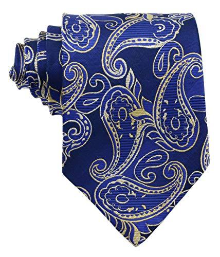 Geotae Zerun New Classic Men's Paisley Silk Tie Necktie (Blue/Gold)