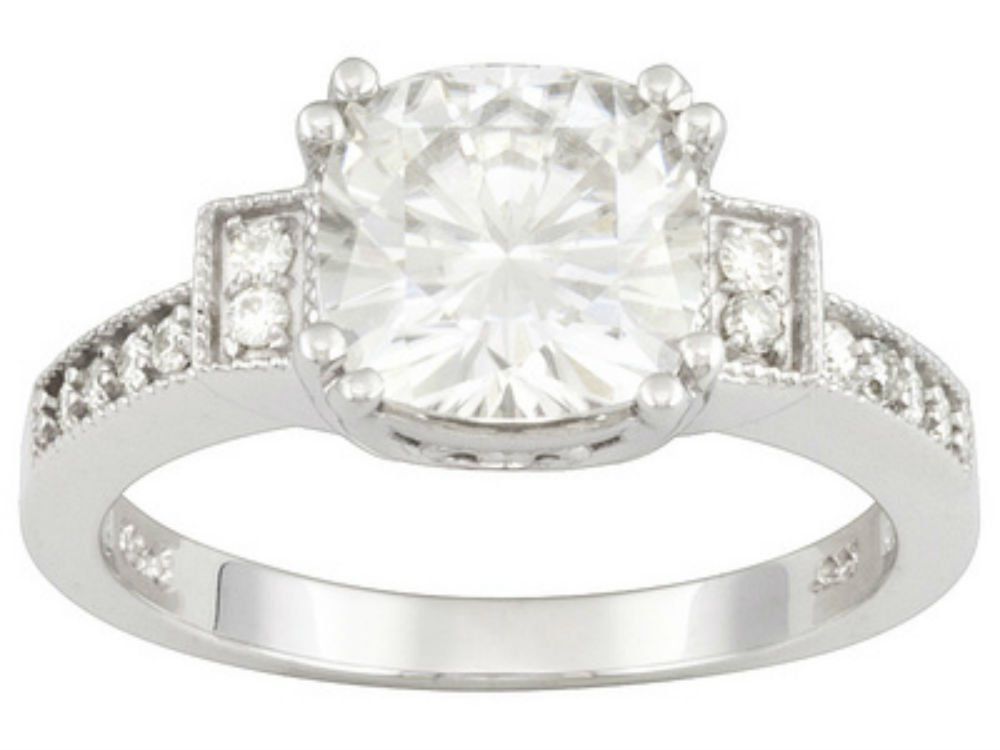 Cushion Cut 8.0mm Moissanite Ring-size 7, 2.52cttw DEW By Charles & Colvard