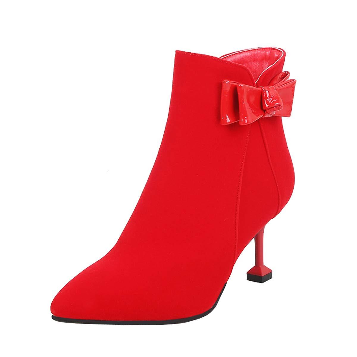 HBDLH Damenschuhe/Rote Schuhe Schuhe Hochzeit Winter Flanell 6 cm Hohen Ferse Die Braut Rote Schuhe Schuhe Schuhe Wein Hochzeit Hochzeit