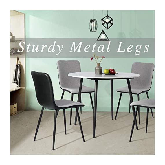 Coavas Dining Chairs Set of 4, Kitchen Chairs with with Fabric Cushion Seat Back, Black Washable PU Back and Metal Legs, Modern Mid Century Living Room Side Chairs - Best Christmas Gifts for Family and Friends. Epic Deals for Black Friday and Cyber Monday! WASHABLE PU FAUX LEATHER🍅🍅🍅---The back of the ergonomic seat shells is made of washable PU faux leather, dyed in stunning and elegant matte black. PU is waterproof and washable. Set of 4 dining room chairs -COMFORTABLE & BREATHABLE - Wear proof thicken padding upholstered chair seat and back, Each bottom leg is equipped with an anti-scratches and anti-noise rubber pad to protect your floor. Set of 4 dining room chairs - STURDINESS & DURABILITY - 4 metal tube with wooden transfer legs, or paint it in a color you prefer. Sturdy X-shaped support to the seat, strong bearing strength, Maximum weight capacity: 250 lbs. - kitchen-dining-room-furniture, kitchen-dining-room, kitchen-dining-room-chairs - 51pzw9 8spL. SS570  -