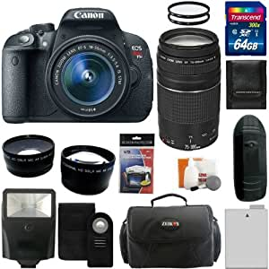 Canon EOS Rebel T3i Digital Camera SLR Kit With Canon EF-S 18-55mm IS II + Canon EF 75-300mm f/4.0-5.6 III Autofocus Lens + 64GB Card and Reader + Wide angle and Telephoto Lenses + Battery + Filters + Accessory Kit