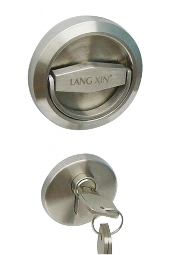 UniDecor Stainless Steel 304 Recessed Cup Handle Privacy Door Locks And Key (D: 2.95 Inch Thickness: 0.52 Inch)