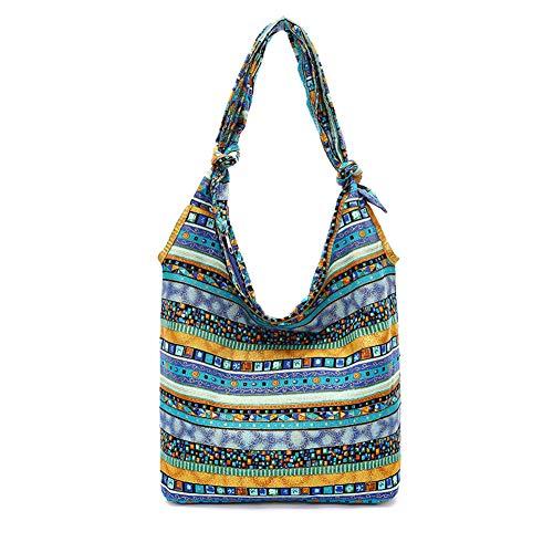 KARRESLY Bohemian Cotton Hippie Shoulder Bag Thai Top Zip Sling Crossbody Bag Hobo Bag Handmade Messenger Purse(Blue1)