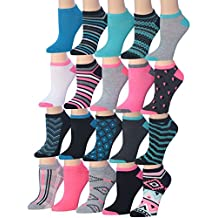 Tipi Toe Women's 20 Pairs Colorful Patterned Low Cut / No Show Socks