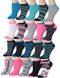 Women's 20 Pairs Colorful Patterned Low Cut / No Show Socks