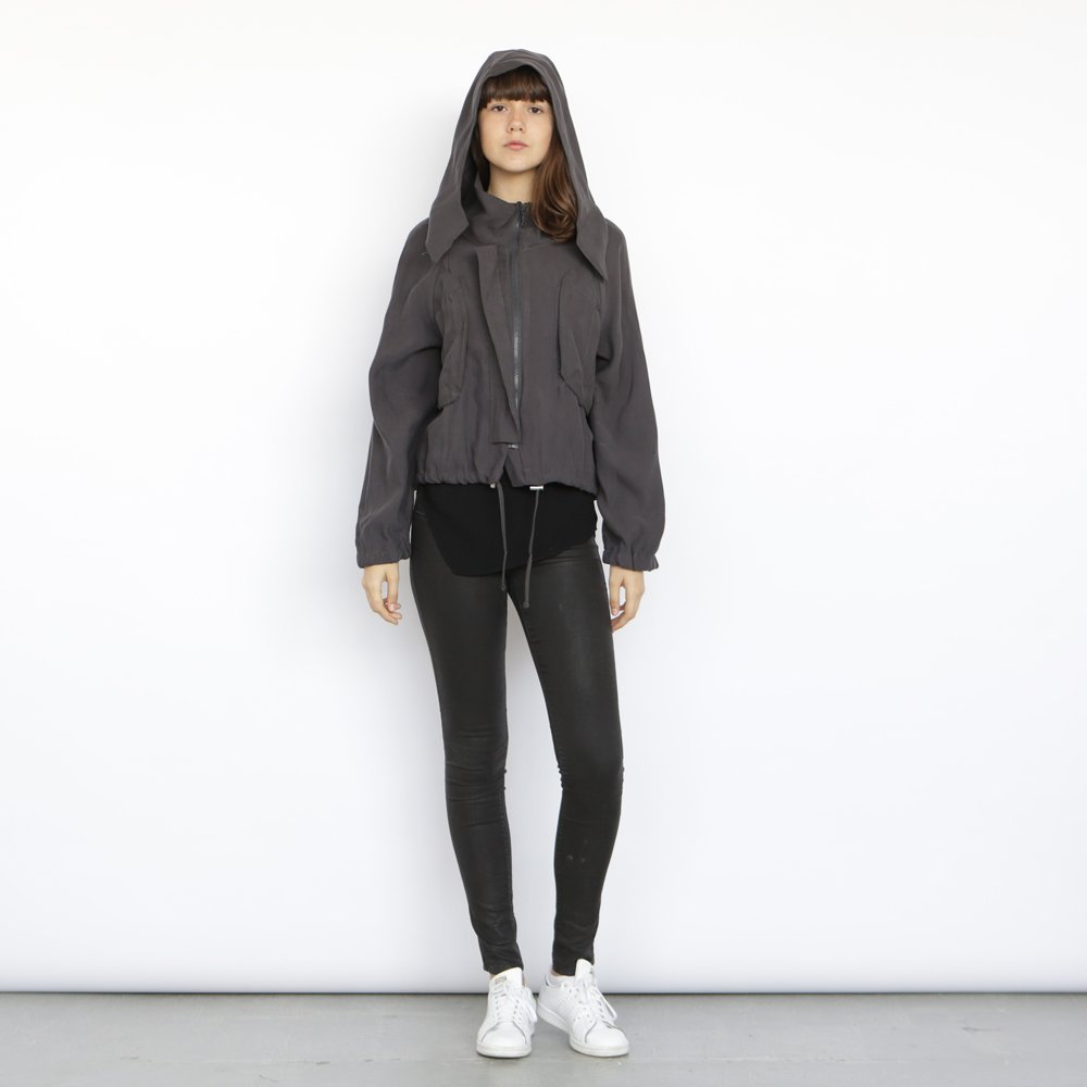 Monti Coat , Grey winter coat, Cropped jacket, Short hoodie.