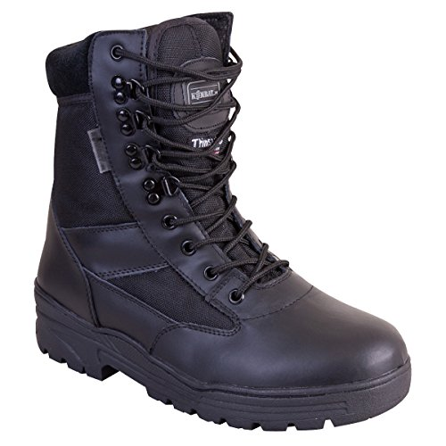 Kombat UK da uomo in pelle metà/Half Cordura Patrol stivali, Uomo, Half Leather/Half Cordura, Black, Taglia 11