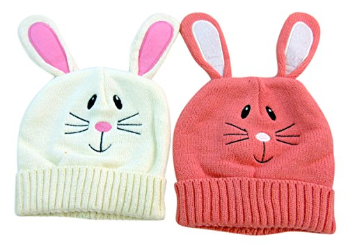 DM Merchandising Knitted Easter Bunny Hat Childrens Beanies Pink and White, Set Of (Easter Bunny Beanie)