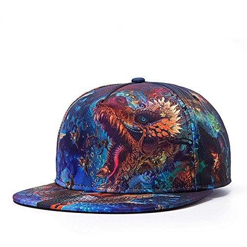 PrettyLife Men's Flat Bill Hats Dragon 3D Print Adjustable Snapback Hip Hop Cap