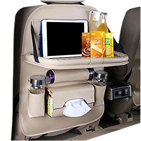 Durable Quality Seat Covers Beige HEYLOVE Car Seat Protector seat back Organizer with Tablet Holder and Foldable Tray PU Leather Car Seat Back Organizer,Travel Accessories Organizer.