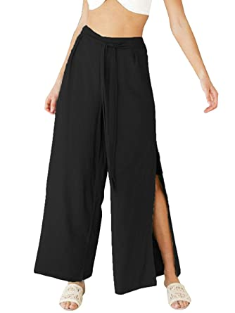 f48cb4ab9e3 Glamaker Women s Casual Wide Leg Linen Pants Palazoo High Slit Side Button Trousers  Black