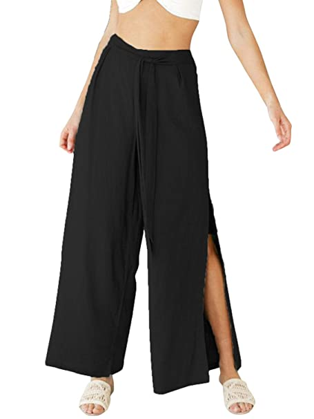 retail prices new authentic choose genuine Conmoto Women's Loose High Waist Wide Leg Linen Pants Palazzo Cropped Pants  with Pockets