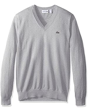 Men's Cotton Jersey V Neck Sweater, Ah7894-51