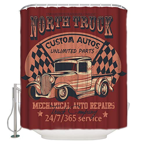 (Bathroom Shower Curtain North Truck Poster Print Used Truck Repair Durable Waterproof Fabric Home Bath Curtain Sets with 12 Hooks, 60