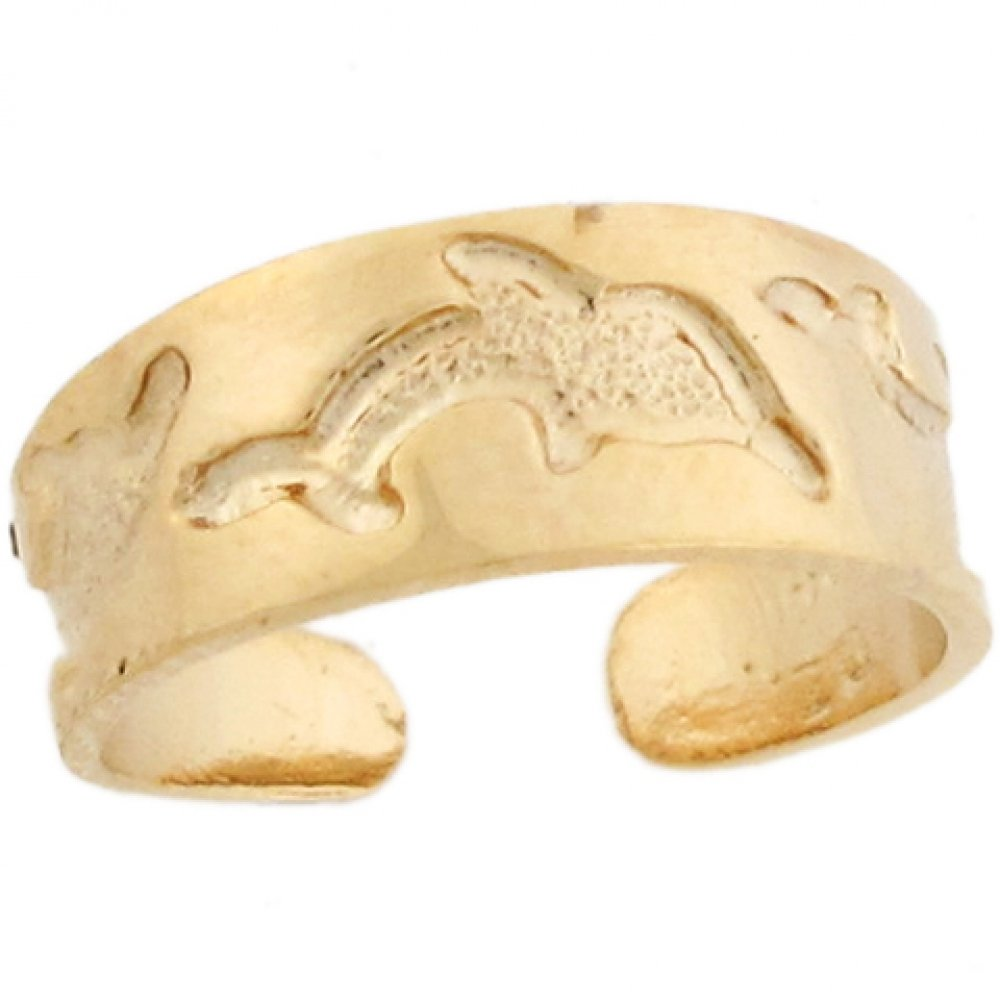 14k Yellow Real Gold Dolphin Sea Life Band Designer Womens Toe Ring