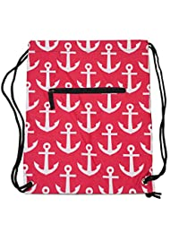 String Backpack, Nautical Anchor (Pink White)