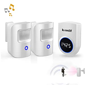 Driveway Alarm,Kamlif Wireless Home Security Driveway Alarm 1 Receiver and 2 PIR Motion Sensor,Patrol Infrared Alert System Kit Can Work on 5V Power Bank, Supply for Outdoor,Stay Safe