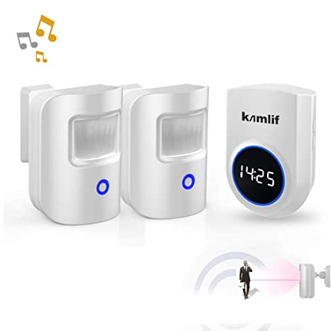 Driveway Alarm,Kamlif Wireless Home Security Driveway Alarm 1 Receiver and 2 PIR Motion Sensor,Patrol Infrared Alert System Kit Can Work on 5V Power ...