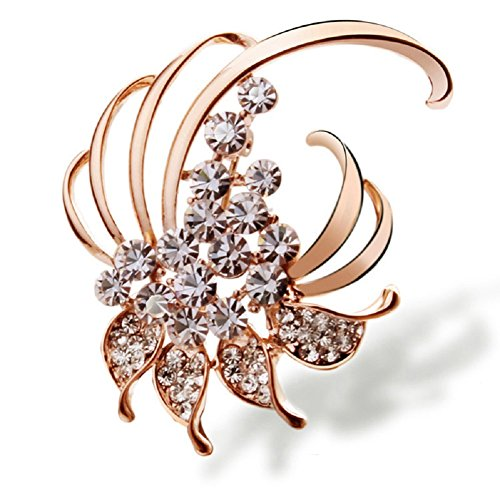 Beautiful Pin (Beautiful Style Flower Brooch Pins 18K Gold Plated for Women Girl Dress Fashion Christmas Gifts Jewelry (Flower 02))