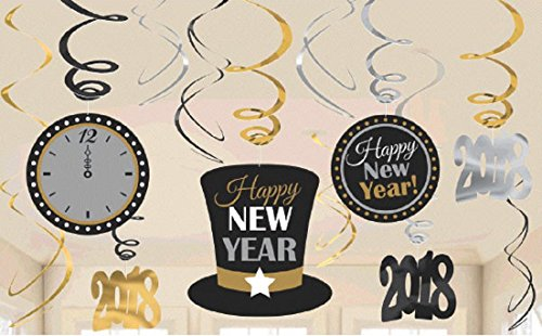 Amscan New Year's Value Pack Foil Swirl Decorations in Black, Silver & Gold - 1 pack - New Years Countdown Clock