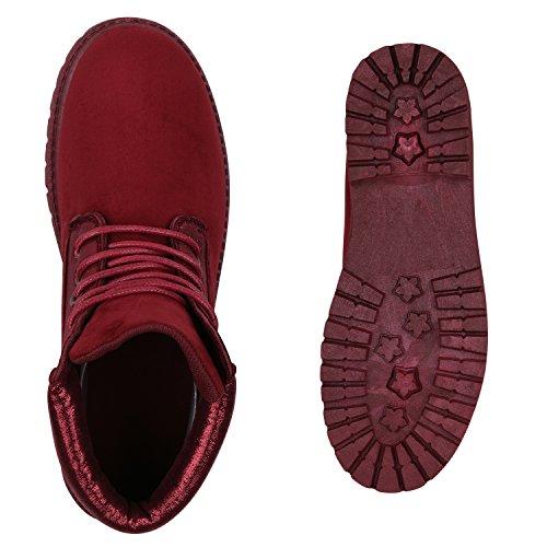 Stiefelparadies Damen Stiefeletten Outdoor Worker Boots Leicht Gefütterte Schuhe Flandell Dunkelrot Glitzer