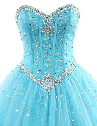 Women's Quinceanera Pink Beaded Kleid Lila Ballkleid Ball Sweetheart Fanciest Abendkleider 7wfq41dd