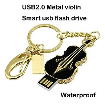 Unidad Flash USB de 16GB, Violín de Metal Cristal Brillante de Diamantes Llavero Llavero USB 2.0, Negro