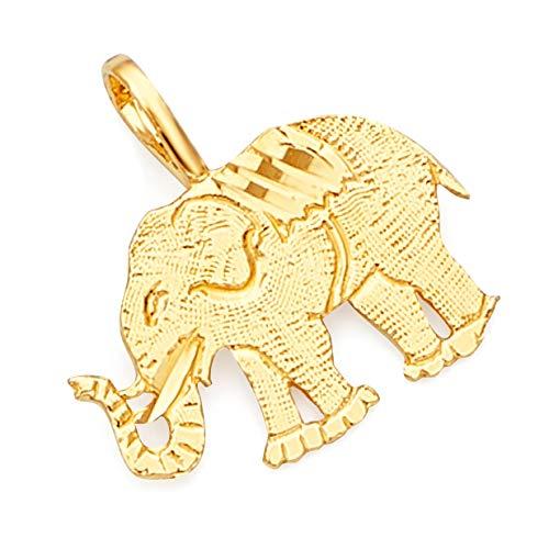 (14k Yellow Gold Elephant Pendant)