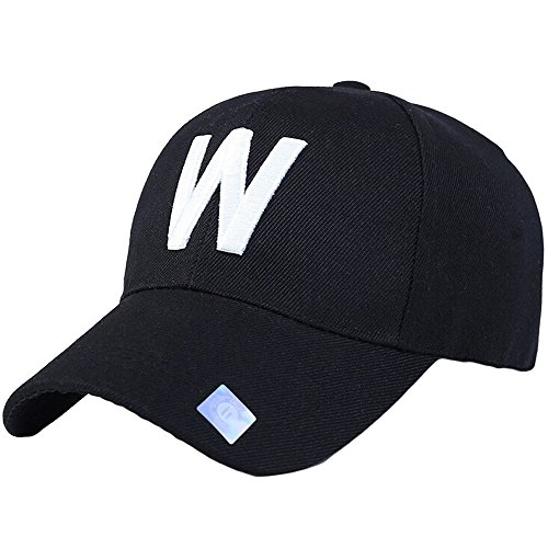 Birdfly W Letter Embroidery Classical Plain Style Baseball Caps for Younth Casual (Adjustable, Black) -