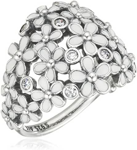 Pandora 190936EN12-50 Ring Darling Daisy Bouquet, White Enamel