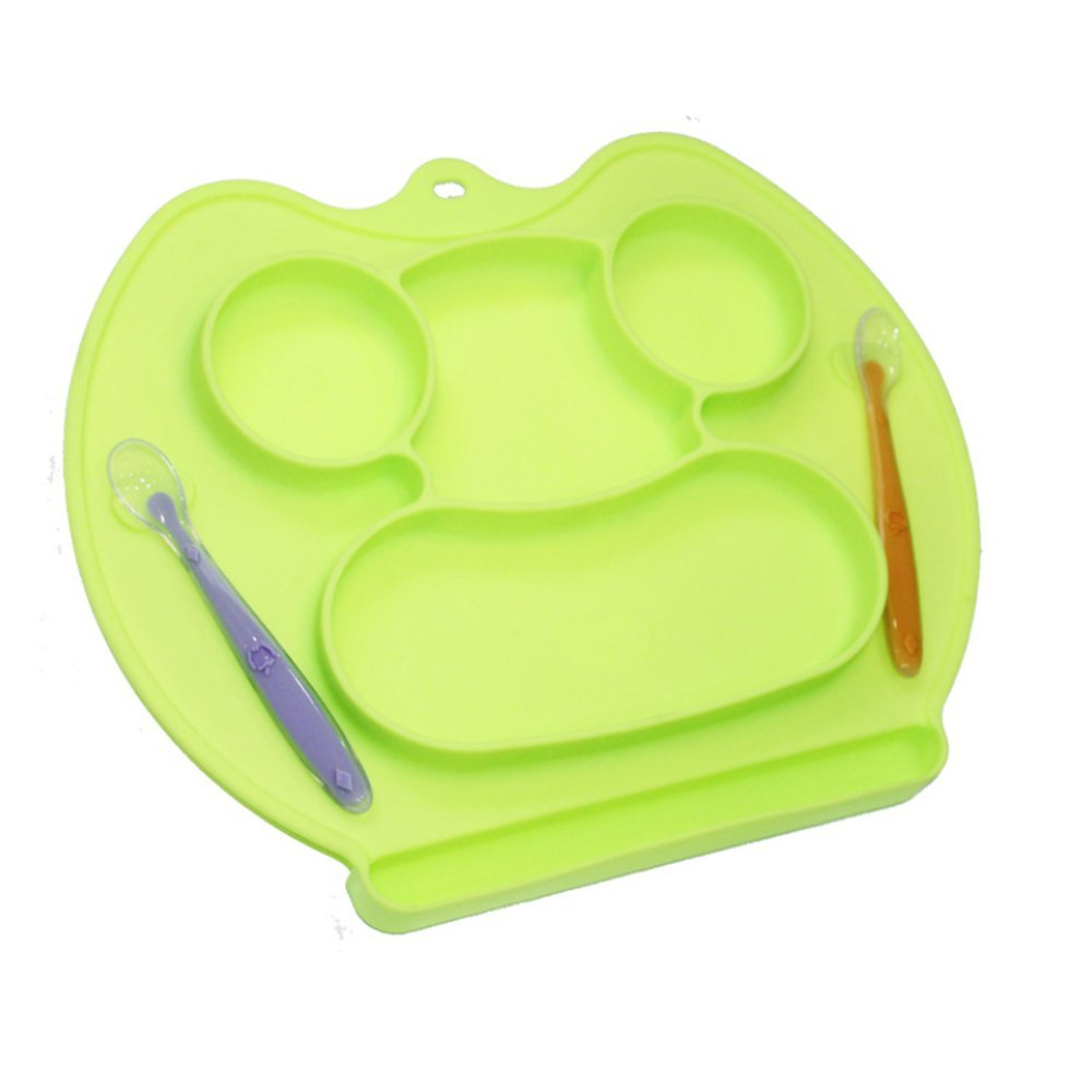 LLZJ Babies Silicone Suction Bowl Suction Stay Put Spoon Separate Placemat Antidérapant Anti-Fall Toddler Feeding Tableware Training Dishes Children's Cutlery,Green