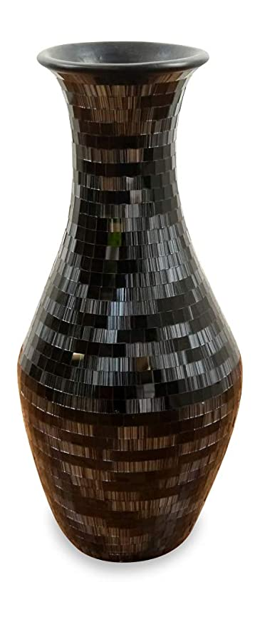 Beautiful Black Terracotta Floor Vase With Glass Mosaic Handcrafted