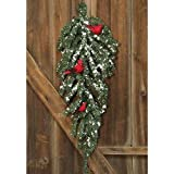 Heart of America Snowy German Twig Teardrop with Cardinals 30''