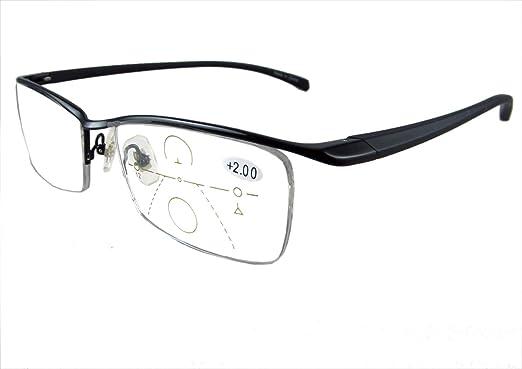 58c36224e0 Circleperson men Progressive Reading glasses NO line bifocal multi focal  Half-rimless 55-17