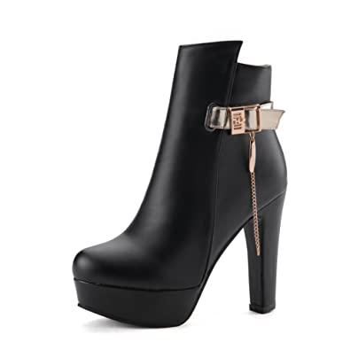 Ladies Chain-Strap Buckle Chunky Heels Sequins Boots