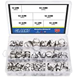 Glarks 120Pcs 7-21mm 304 Stainless Steel Single Ear stepless Hose Clamps Assortment Kit
