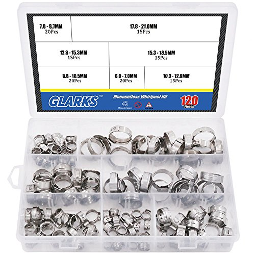 Glarks 120Pcs 7-21mm 304 Stainless Steel Single Ear stepless Hose Clamps Assortment ()