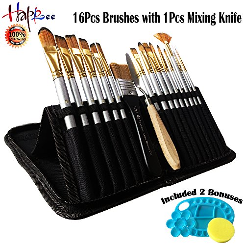 Happlee 16Pcs Paint Brush Set, Round Pointed Tip Nylon Hair