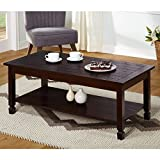 Simple Living Ethan Cocktail Stationary Lower Shelf Coffee Table (Brown, Rectangular) For Sale