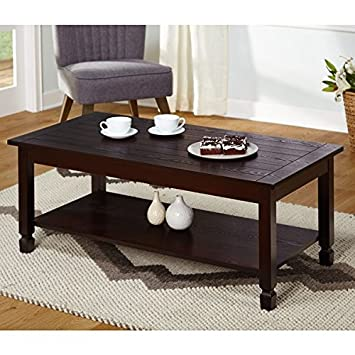 Simple Living Ethan Cocktail Stationary Lower Shelf Coffee Table (Brown,  Rectangular)