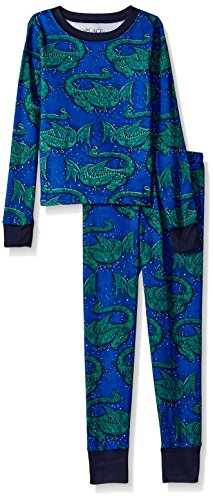 The Children's Place Big Boys' Dragon 2 Piece Sleepwear Set, Edge Blue 90450, 6