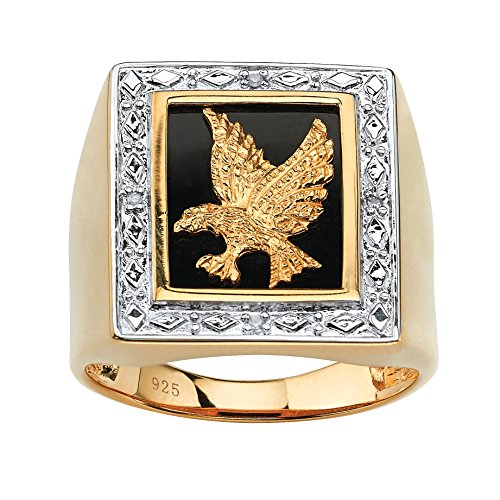Men's 14K Yellow Gold over Sterling Silver Diamond Accent and Black Onyx Eagle Ring Size - Ring Silver Eagle Sterling