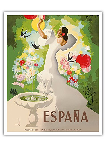Pacifica Island Art Espana (Spain) - Dancer with Fountain and Birds - Vintage World Travel Poster by Marcias Jose Morell c. 1941 - Fine Art Print - 16in x 20in by Pacifica Island Art