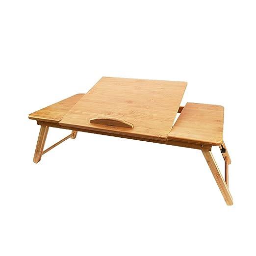 Mesa portátil de bambú, Mesa Plegable, Cama portátil de Altura ...