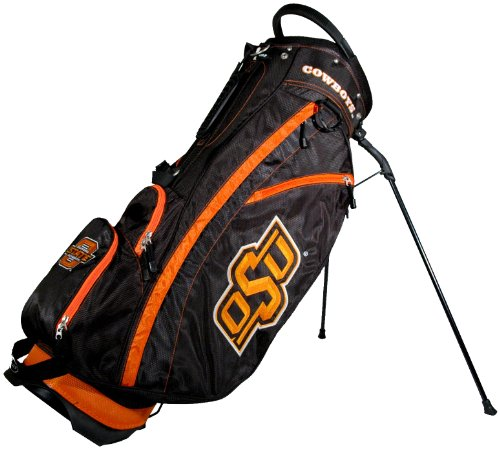 Team Golf NCAA Oklahoma State Cowboys Fairway Golf Stand Bag, Lightweight, 14-way Top, Spring Action Stand, Insulated Cooler Pocket, Padded Strap, Umbrella Holder & Removable Rain Hood