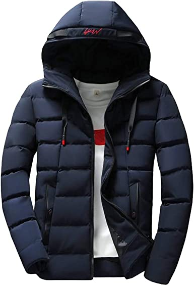 Rrive Mens Winter Warm Quilted Packable Hooded Zip-Up Down Coat Jackets