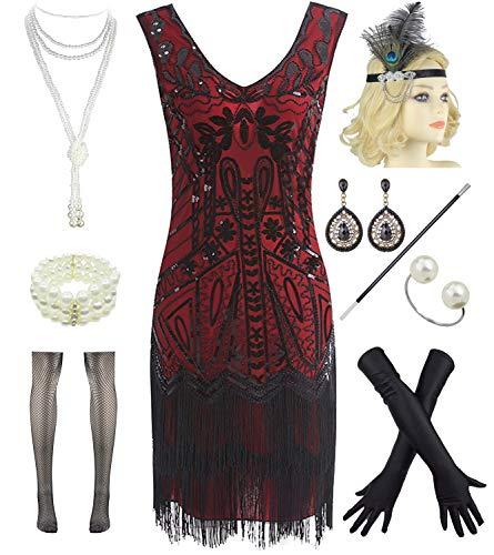 Women Flapper Dresses 1920s V Neck Beaded